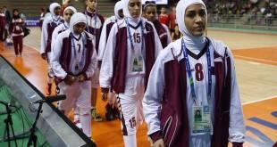 Tim Bola Basket Putri Qatar yang tampil di Asian Games 2014, Korea Selatan.  (independent.co.uk)