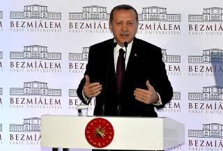 Erdogan di Bezmialem Vakif University. (Anadolu)