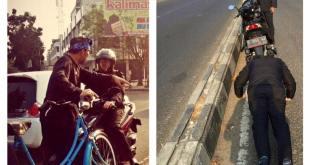 Walikota Bandung Ridwan Kamil hukum pengendara motor yang melawan arus dengan push up, Rabu (23/7) . (Facebook)