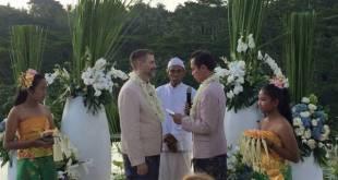 Foto pernikahan sesama jenis di Bali yang beredar di medsos menimbulkan kecaman dari banyak fihak. (harianterbit.com)