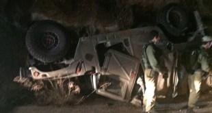 Jeep militer penjajah Israel terbalik di Tepi Barat. (alresalah.ps)