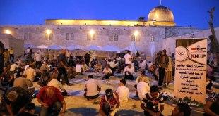 Program buka puasa bersama di Masjid Al-Aqsha, Palestina, pada bulan Ramadhan 1437 H yang bertepatan dengan tahun 2016, yang digelar oleh Komite Nasional untuk Rakyat Palestina (KNRP). (ist)