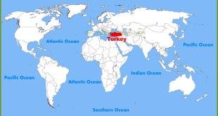 Ilustrasi - Peta Turki di antara negara-negara di dunia. (ontheworldmap.com)