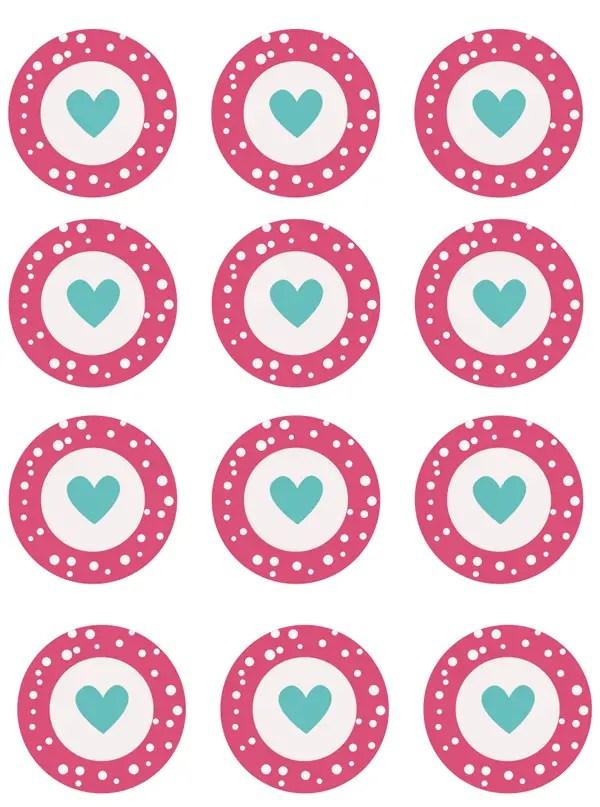 Imprimibles de San Valentín para cupcakes