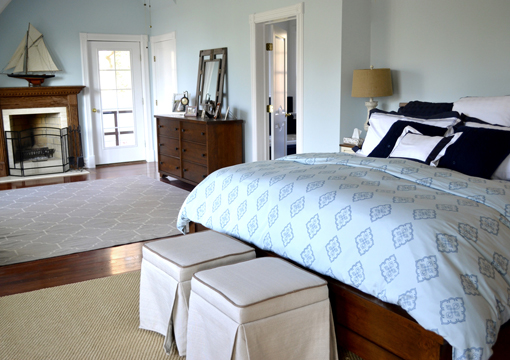 nautical bedroom interior design by Dalehead / specializing in home decorating, staging, and move-in services for the Long Island, New York Metro area