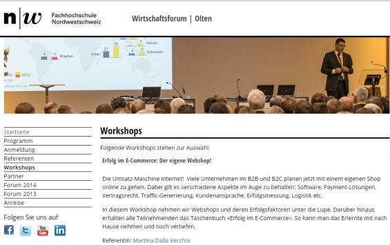 Wirtschaftsforum FHNW in Olten. Workshop Webshop