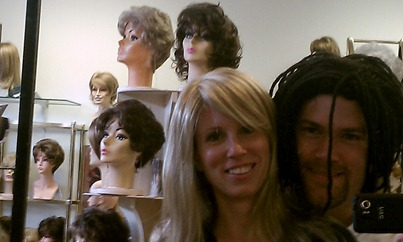 Trying on wigs