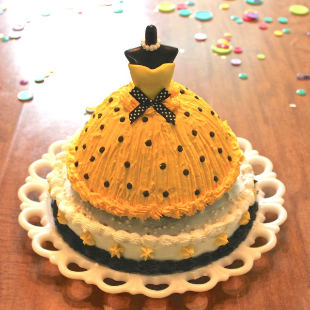 Black and Yellow Dress Fashion Birthday Cake