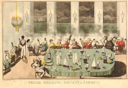 "Creole men and women being drunk and disorderly. - ""Cigar smoking society in Jamaica"" (1802)"