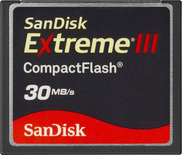 A SanDisk Extreme III Compact Flash memory card