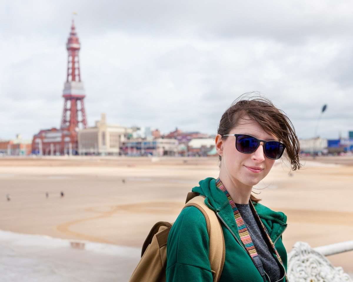 Photo of Kat in front of Blackpool Tower