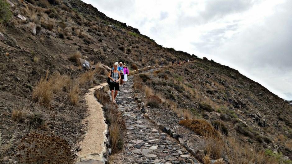 Rocky pathway on Santorini hike