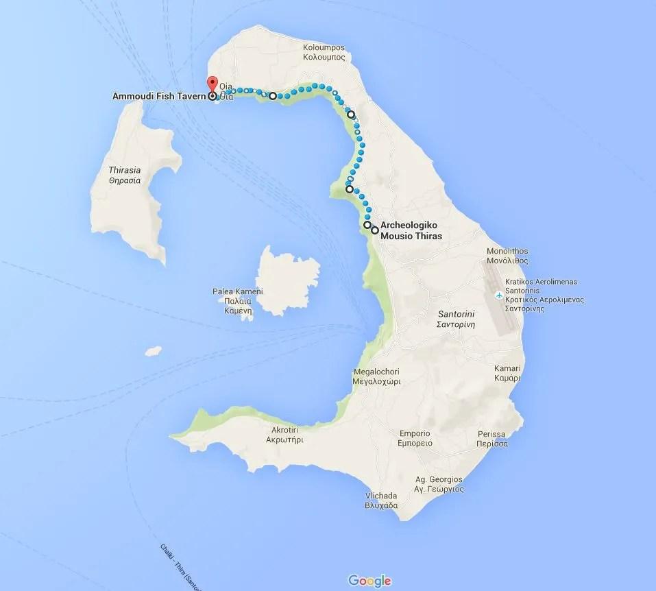 Map of Santorini hike