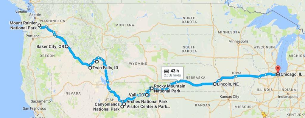 Road Trip Map Last Month