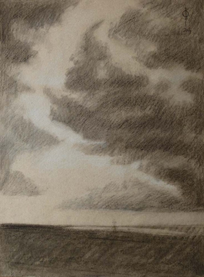 Sky 13 - charcoal and chalk on paper, 40x29.5 cm, 2014