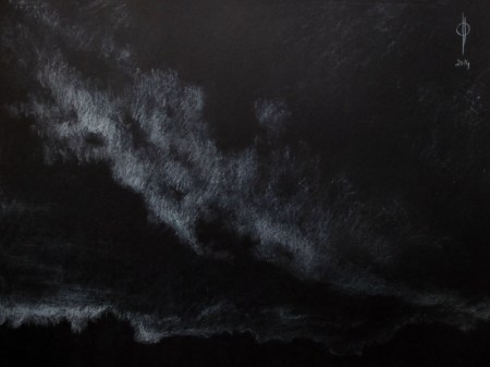 Sky 27 - chalk on paper, 34.5x45.9cm, 2014
