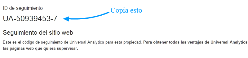 Copiar ID de seguimiento de Google Analytics