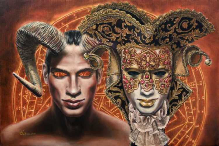 surreal-oil_painting-famous_artists-alchemy_venetian-mask_horn
