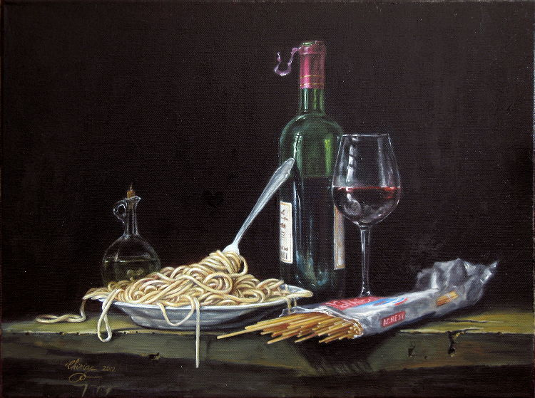 fine_art-still_life-oil_painting-wine_and_spaghetti
