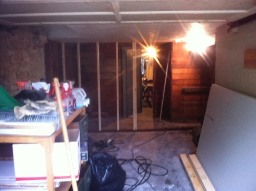 here s a view of the basement side of the wall at this point i