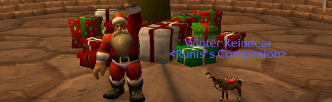 Warcraft dwarf dressed as santa standing in front of a giant Christmas Tree beside a Reindeer
