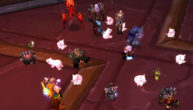 Warcraft raid team surrounded by baby polar bear pets