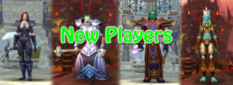"Four character create screens with a mixture of Horde and Alliance races blurred with the text ""New Players""."