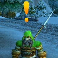 Warcraft dwarf with a yellow exclamation point above his head indicating they have a quest.