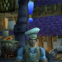 Warcraft NPC with a blue exclamation point above his head indicating they have a daily quest.