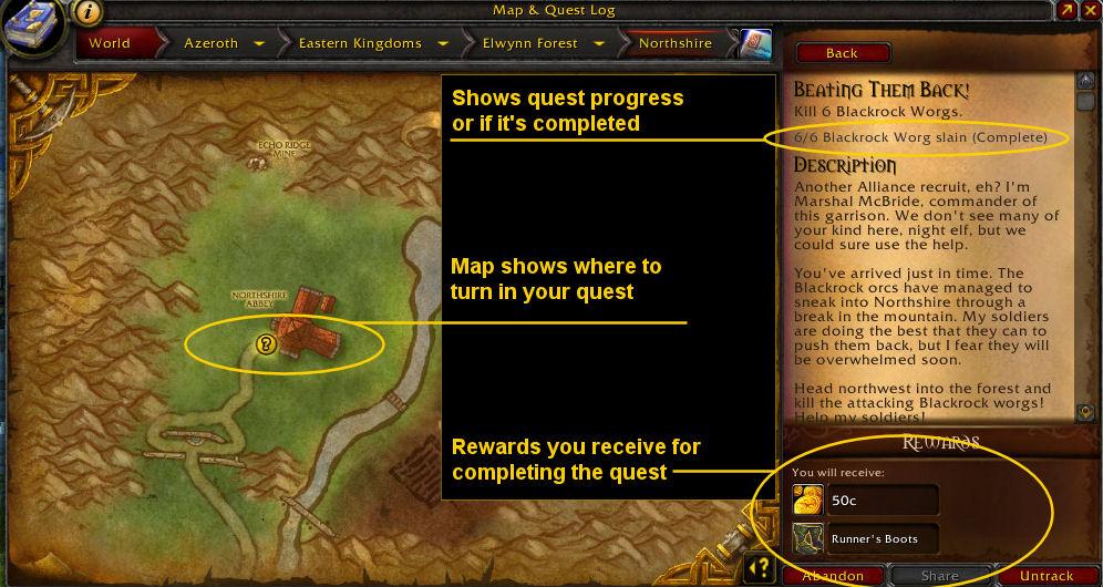 Image explaining Warcraft Quest UI