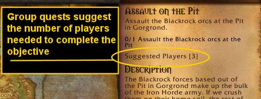 Quest details showing a quest is a group quest