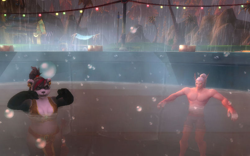 Two characters in a hot tub