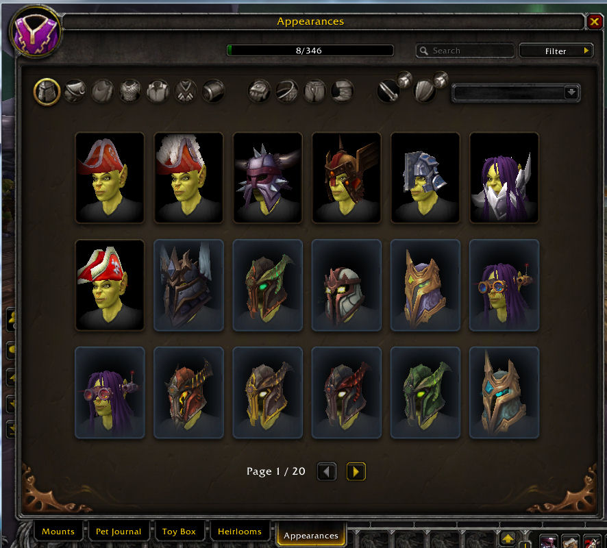 Preview of Warcraft Appearance tab