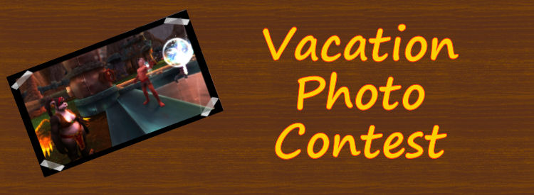 Vacation Photo Contest with a Pandaran and Blood Elf blowing bubbles.