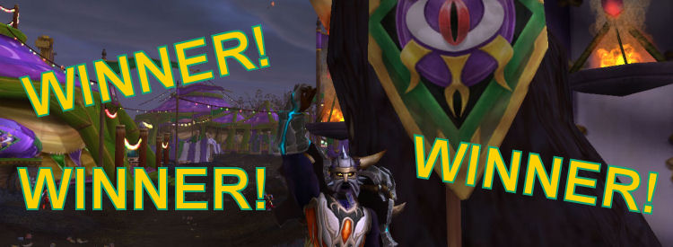 A character cheering at Darkmoon Faire with the text Winner, Winner. Winner!