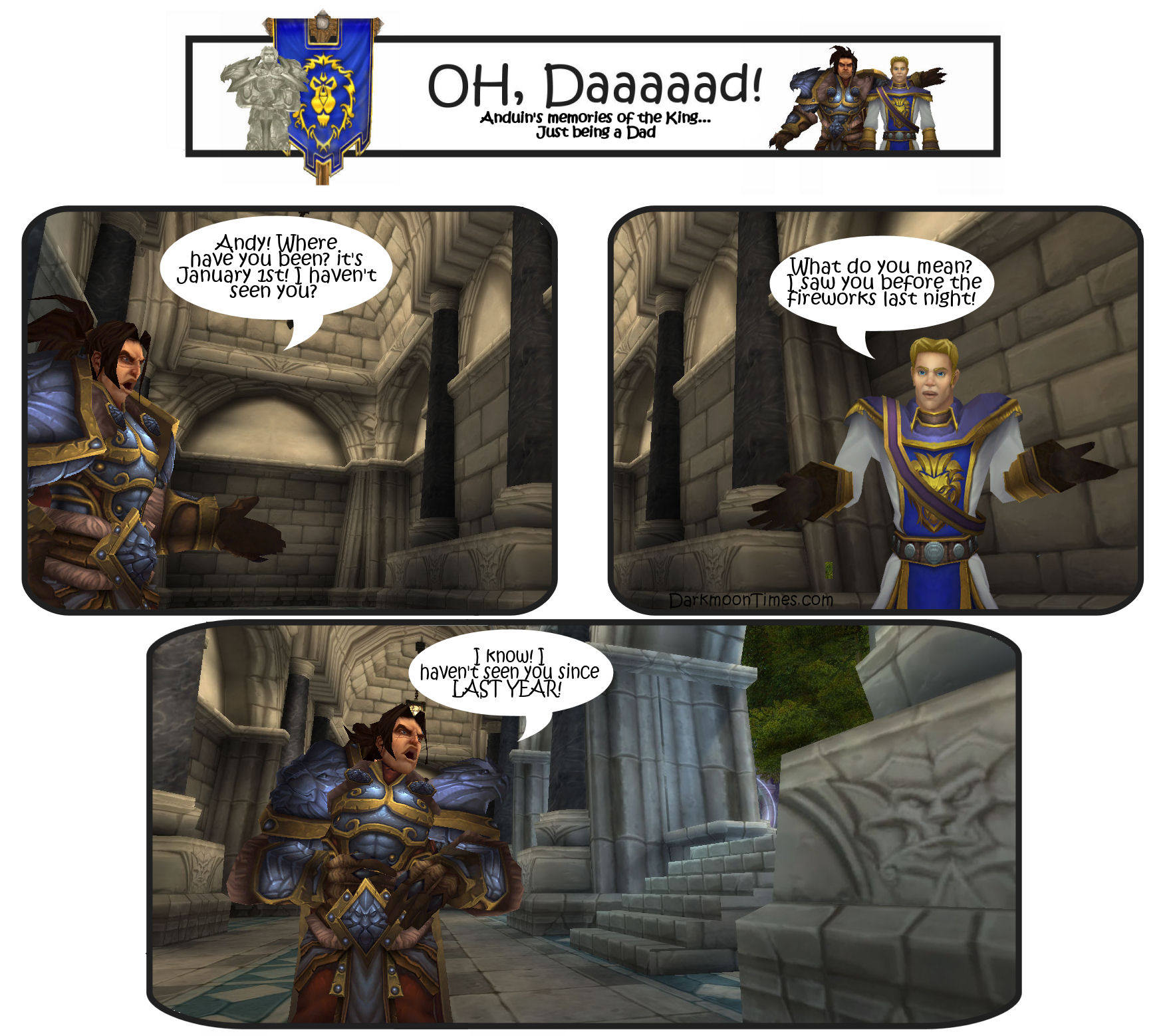 Varian telling Anduin a New Year's dad joke