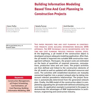 Schedule Planner, Building Information Modeling Based Time And Cost Planning In Construction Projects