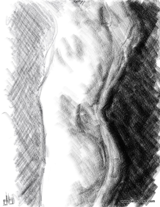 nude female figure sketch torso 30min
