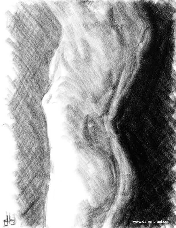 nude female figure sketch torso 40min