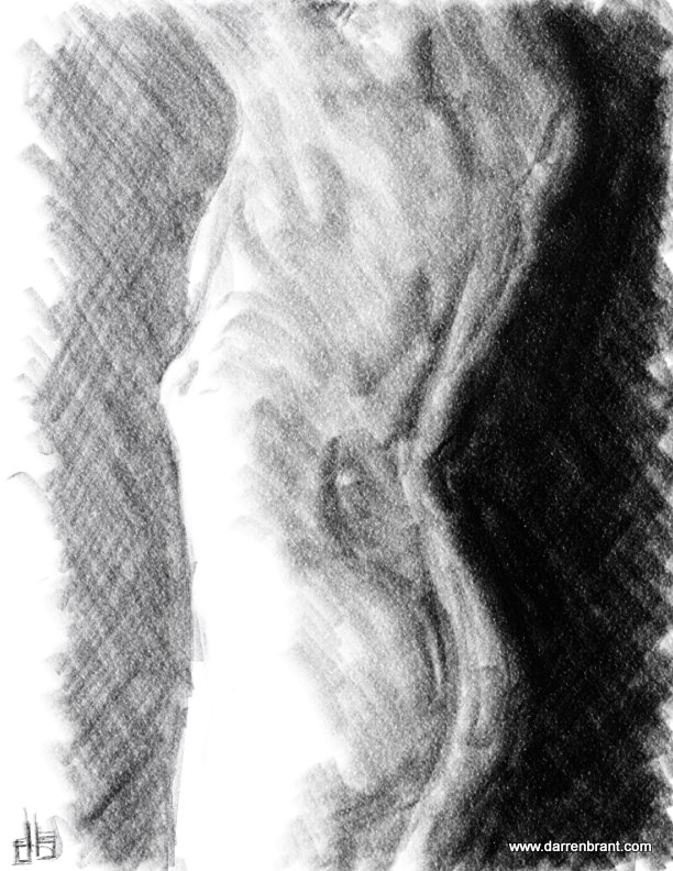 nude female figure sketch torso 40min