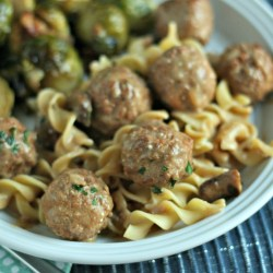Slow-Cooker Turkey Stroganoff Meatballs {All items from Aldi!}