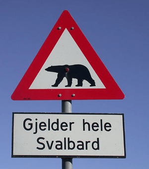 A Norwegian road sign used on Svalbard to warn...
