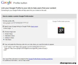 Google plus Profile Button creator