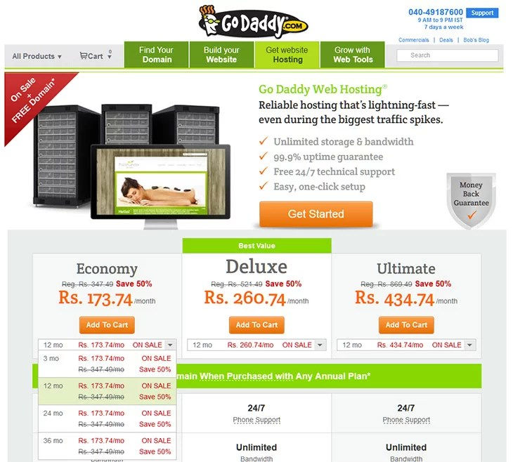 GoDaddy India Special Discount 50% OFF on Web Hosting