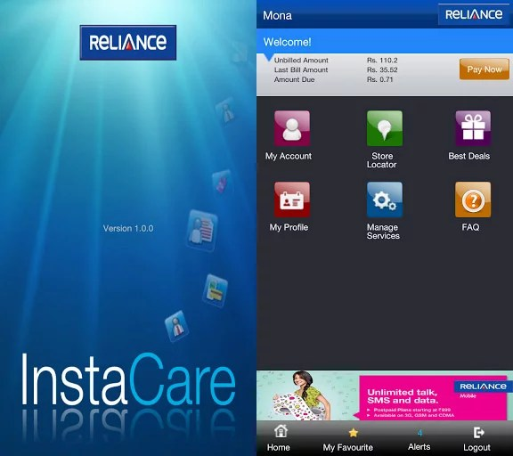 Reliance InstaCare application