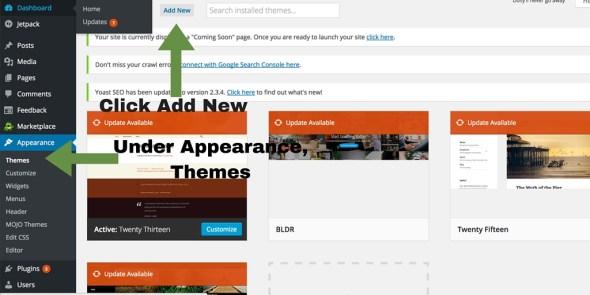 Screenshot 4 - setting up WordPress general settings - add new theme
