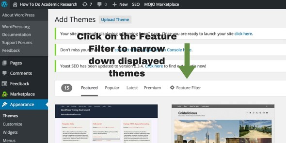 Screenshot 5 - setting up WordPress general settings - feature filter