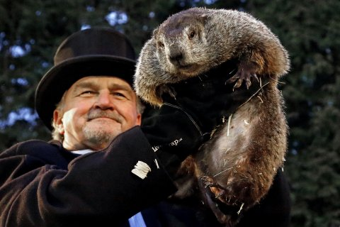 Groundhog Day groundhog predicts six weeks of winter in Gobblers Knob
