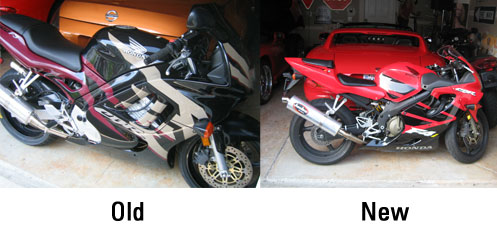 My old CBR600 F3 and my new CBR600 F4i