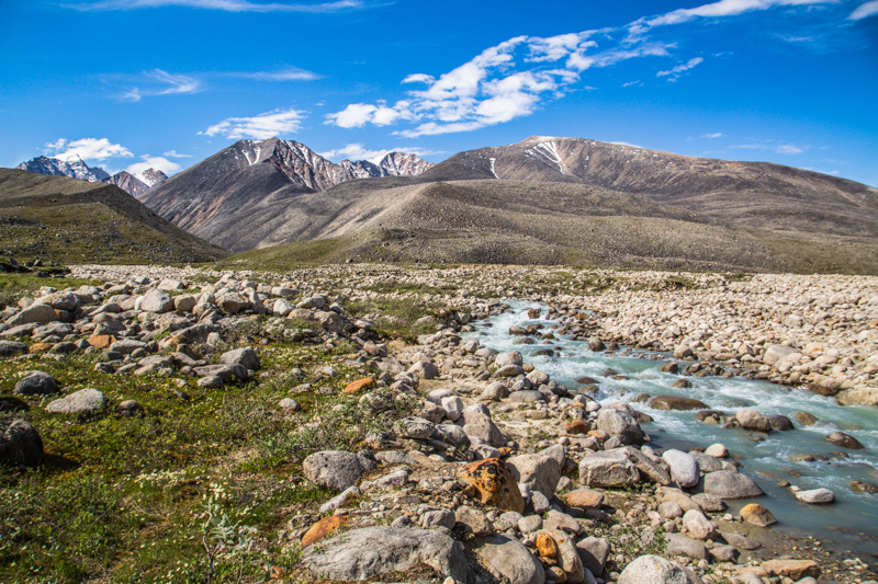 A glacial tributary creek flows out of the Romanzoff Mountains in the Brooks Range toward the Jago River in the Arctic National Wildlife Refuge, Alaska.